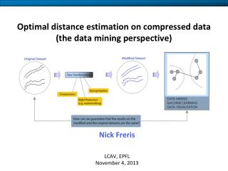 Optimal distance estimation on compressed data (the data mining perspective)