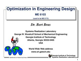 Optimization in Engineering Design ME 6103  (used to be ME 6172)