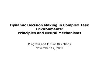 Dynamic Decision Making in Complex Task Environments: Principles and Neural Mechanisms