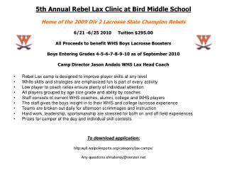 Rebel Lax camp is designed to improve player skills at any level