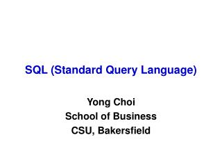SQL Standard Query Language