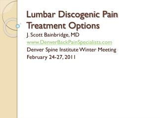 Lumbar Discogenic Pain Treatment Options