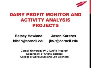 Dairy Profit Monitor and Activity Analysis Projects