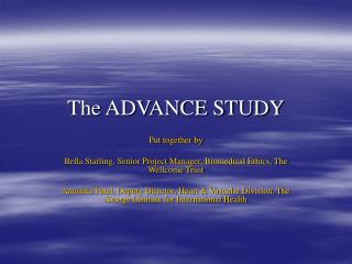 The ADVANCE STUDY