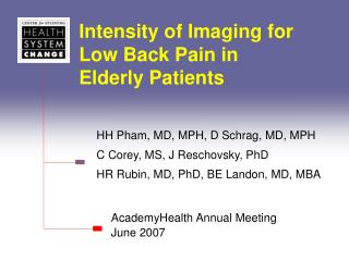 Intensity of Imaging for Low Back Pain in Elderly Patients