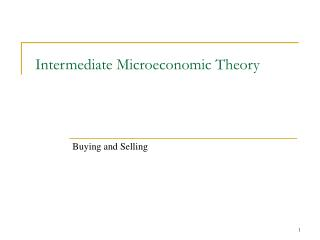 Intermediate Microeconomic Theory