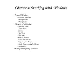 Chapter 4: Working with Windows