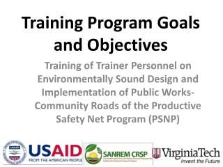 Training Program Goals and Objectives