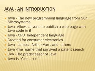 Java - An Introduction