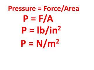 Pressure = Force/Area