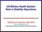US Military Health System Role in Stability Operations