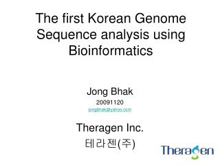 The first Korean Genome Sequence analysis using Bioinformatics