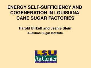 ENERGY SELF-SUFFICIENCY AND COGENERATION IN LOUISIANA  CANE SUGAR FACTORIES