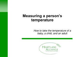 Measuring a person's temperature