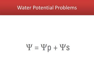 Water Potential Problems