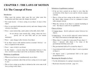 CHAPTER 5 : THE LAWS OF MOTION 5.1) The Concept of Force