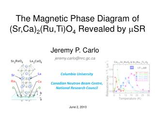 The Magnetic Phase Diagram of (Sr,Ca) 2 (Ru,Ti)O 4  Revealed by  m SR