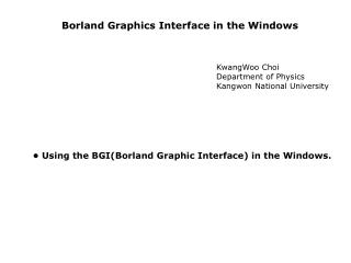 Borland Graphics Interface in the Windows