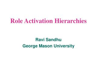 Role Activation Hierarchies