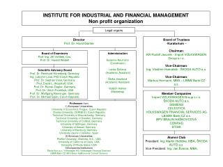 INSTITUTE FOR INDUSTRIAL AND FINANCIAL MANAGEMENT Non profit organization