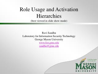 Role Usage and Activation Hierarchies (best viewed in slide show mode)