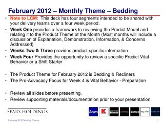 February 2012 – Monthly Theme – Bedding