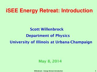 iSEE Energy Retreat: Introduction