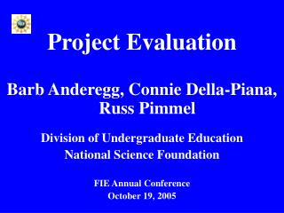 Project Evaluation Barb Anderegg, Connie Della-Piana,  Russ Pimmel