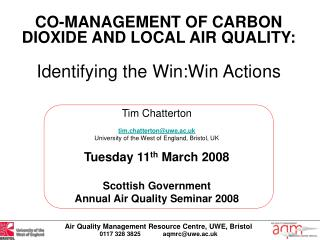CO-MANAGEMENT OF CARBON DIOXIDE AND LOCAL AIR QUALITY: Identifying the Win:Win Actions