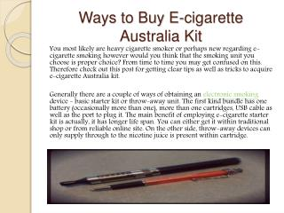 Ways to Buy E-cigarette Australia Kit
