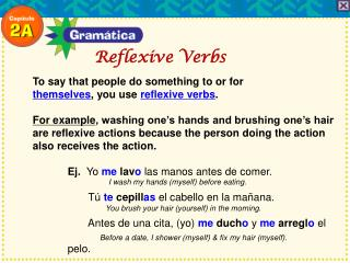 To say that people do something to or for themselves , you use  reflexive verbs .