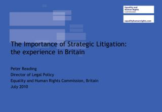 The Importance of Strategic Litigation: the experience in Britain