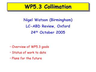 WP5.3 Collimation