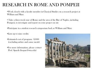 RESEARCH IN ROME AND POMPEII