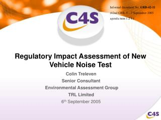 Regulatory Impact Assessment of New Vehicle Noise Test