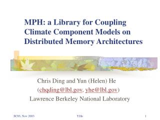 MPH: a Library for Coupling Climate Component Models on Distributed Memory Architectures