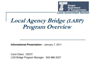 Local Agency Bridge  (LABP) Program Overview