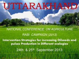 NATIONAL CONFERENCE  ON AGRICULTURE RABI  CAMPAIGN (2013)