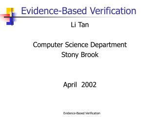 Evidence-Based Verification