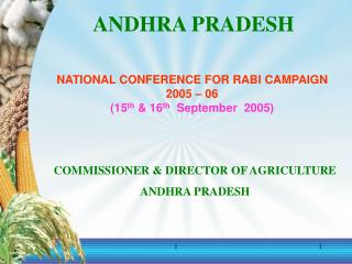 NATIONAL CONFERENCE FOR RABI CAMPAIGN  2005 – 06 (15 th  & 16 th   September  2005)