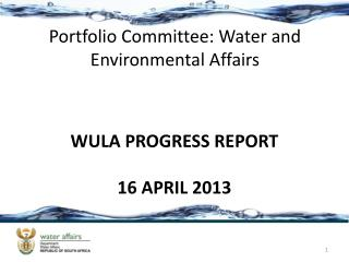 Portfolio Committee: Water and Environmental Affairs