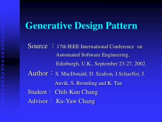 Generative Design Pattern