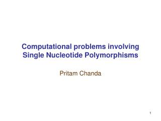 Computational problems involving Single Nucleotide Polymorphisms