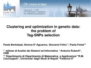 Clustering and optimization in genetic data: the problem of  Tag-SNPs selection