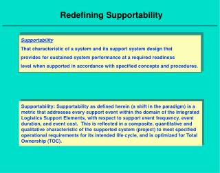 Redefining Supportability