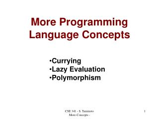 More Programming Language Concepts