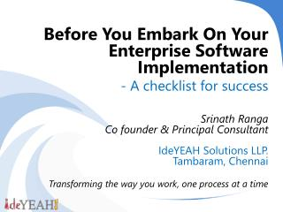 Before You Embark On Your Enterprise Software Implementation - A checklist for success