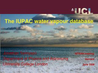 The IUPAC water vapour database