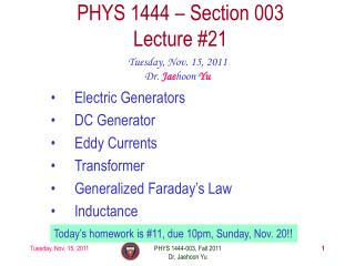 PHYS 1444 – Section  003 Lecture  #21