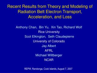 Recent Results from Theory and Modeling of Radiation Belt Electron Transport, Acceleration, and Loss